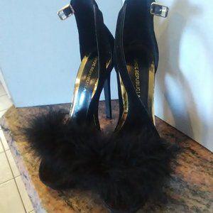 Shoe Republic LA Black Velvet Heels Strap Feather